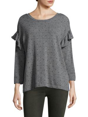 Printed Ruffle Cotton Sweatshirt by Current/Elliott