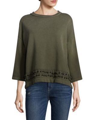 Three-Quarter Sleeve Pom Pom Cotton Sweatshirt by Current/Elliott