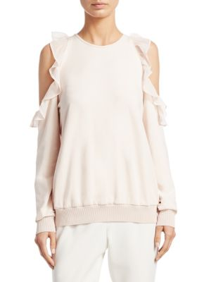 Cold Shoulder Ruffled Sweatshirt by Scripted
