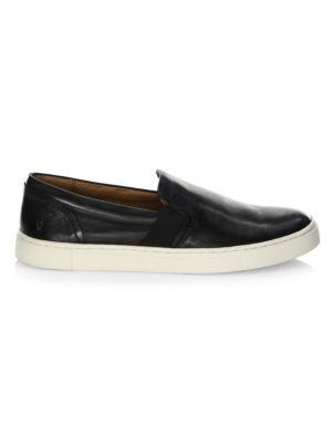 Ivy Slip-On Leather Sneakers in Black