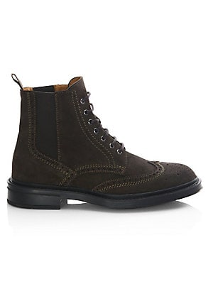Image of From the Saks IT LIST THE LACE-UP BOOT Try with trousers or denim-a little bit of rugged goes a long way. Wingtip boots featuring perforated pattern details Suede upper Wingtip toe Lace-up vamp Waterproof Weatherproof Leather lining Rubber sole Made in It