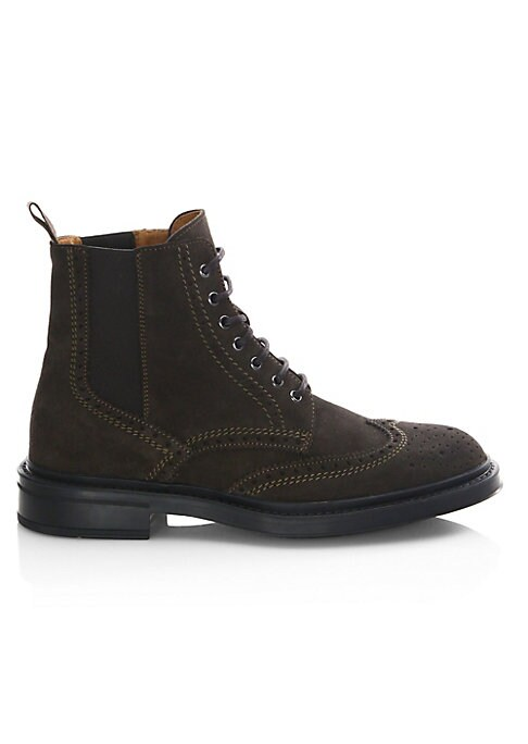 Image of From the Saks IT LIST. THE LACE-UP BOOT. Try with trousers or denim-a little bit of rugged goes a long way. Wingtip boots featuring perforated pattern details. Suede upper. Wingtip toe. Lace-up vamp. Waterproof. Weatherproof. Leather lining. Rubber sole.