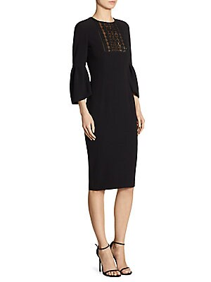 "Image of Bell sleeve dress with sheer beaded inset Roundneck Three-quarter bell sleeves Concealed back zip About 43"" from shoulder to hem Triacetate/polyester Dry clean Imported Model shown is 5'10"" (177cm) wearing US size 4. Designer Evenin - Classic Evening > Sa"