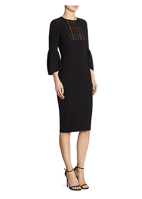 """Image of Bell sleeve dress with sheer beaded inset. Roundneck. Three-quarter bell sleeves. Concealed back zip. About 43"""" from shoulder to hem. Triacetate/polyester. Dry clean. Imported. Model shown is 5'10"""" (177cm) wearing US size 4."""