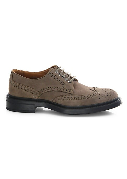 Image of Leather wingtip oxford featuring brogue pattern. Leather upper. Wingtip toe. Lace-up vamp. Waterproof. Weatherproof. Leather lining. Rubber sole. Made in Italy.
