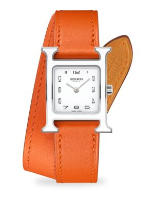 HERMÈS WATCHES Heure H Lacquered, Stainless Steel & Leather Strap Watch in Silver Orange