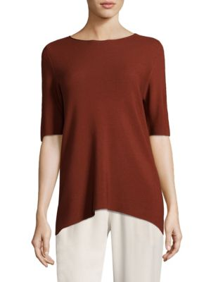 Ribbed Scoopneck Top by Eileen Fisher