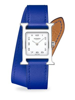 HERMÈS WATCHES Heure H Lacquered, Stainless Steel & Leather Strap Watch in Blue