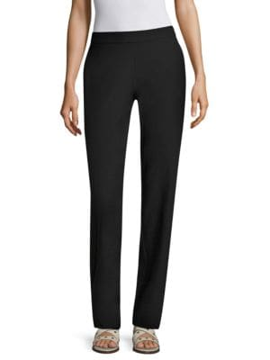 Washable Stretch-Crepe Straight-Leg Pants With Pocket, Petite in Black