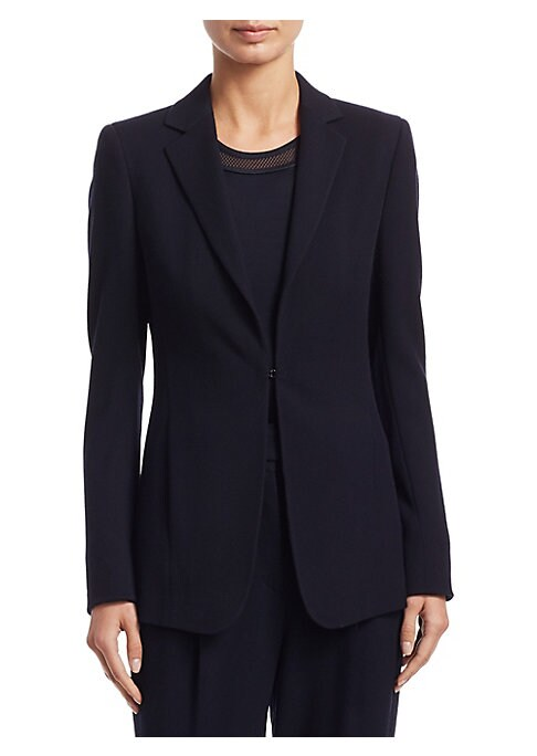 """Image of Classic blazer updated in wool with hook closure. Notch lapels. Long sleeves. Hook closure. Waist slip pockets. Lined. About 29"""" from shoulder to hem. Wool. Dry clean. Imported. Model shown is 5'10"""" (177cm) wearing US size 4."""