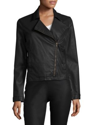 """Image of Features a textured organic cotton-blend jacket. Notch lapels. Long sleeves. Buttoned cuffs. Exposed front zip. Side slip pockets. Waxed organic cotton lining. About 23"""" from shoulder to hem. Organic cotton/polyester /elastane. Machine wash. Made in USA."""