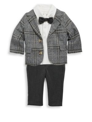 Image of Three-piece suit features a solid shirt, a plaid jacket and pants. Lined. Machine wash. Imported. Top. Spread collar with bow tie. Short sleeves. Two-button placket. Cotton. Jacket. Notch lapels. Long sleeves with buttoned cuffs. Button front. Chest flap