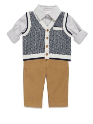 Boys Collared Shirt Knitted Sweater  Pants Set