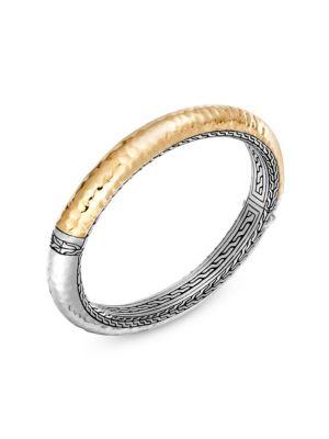 John Hardy Classic Chain 18k Silver Yellow Gold Bangle Bracelet