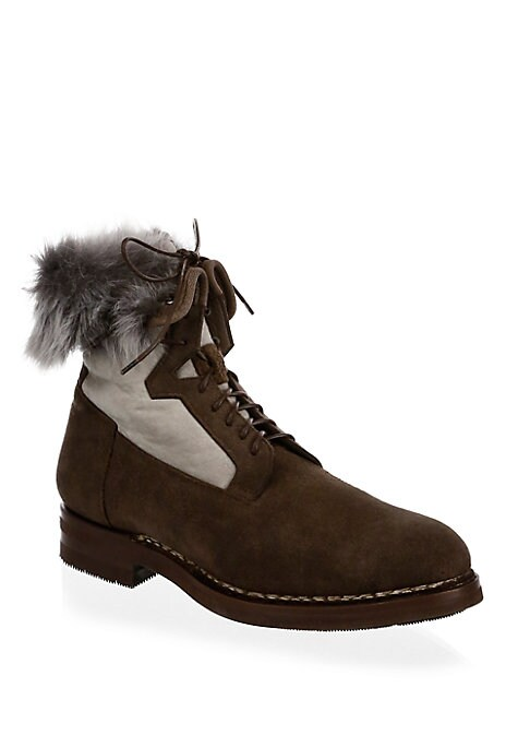 Image of Suede ankle boots elevated with shearling details. Suede upper. Round toe. Lace-up closure. Leather lining and rubber sole. Padded insole. Fur type: Natural shearling. Fur origin: Italy. Made in Italy.