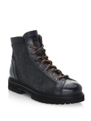 Santoni  Mixed Media Leather Hiking Boots