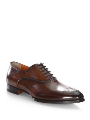 Santoni  SJ Hand-Stitched Leather Oxfords
