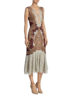 Dimensional Lurex Applique Lace Up Trumpet Dress