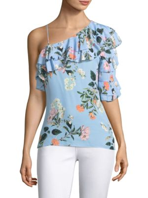 Clayton One Shoulder Silk Blouse by Parker