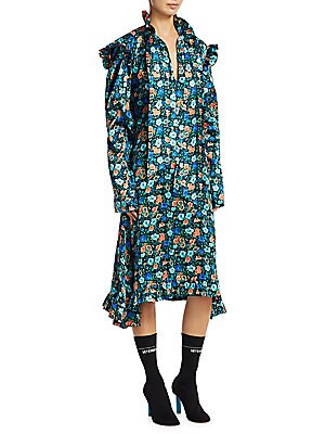 80b86e150b5 Vetements - Silk Biker Floral-Print Midi Dress - saks.com