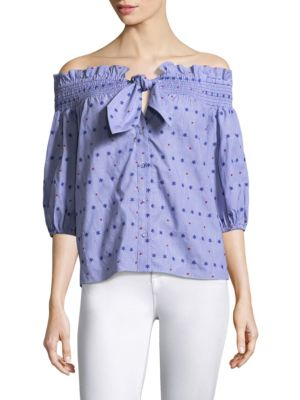 Spade Printed Off-the-Shoulder Cotton Blouse by Parker