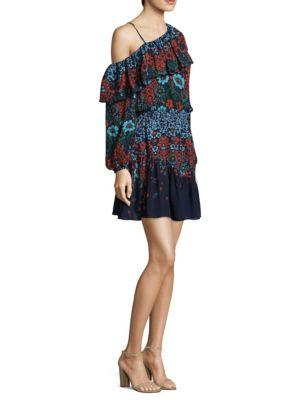 Clarisse One-Shoulder Printed Ruffle One-Shoulder Silk Dress