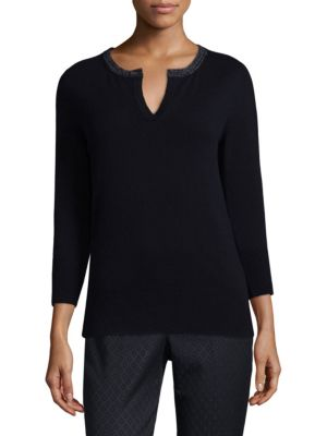 Split Neckline Sweater by Peserico