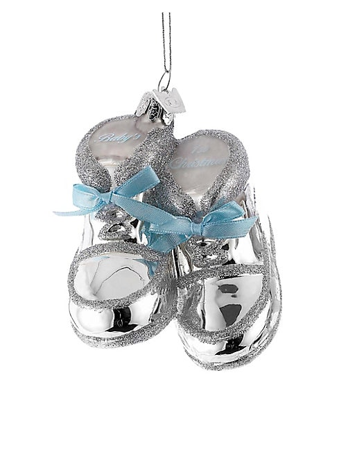 """Image of Baby shoe ornament with bow and glitter details.3.75""""W.Paint/mica. Imported."""