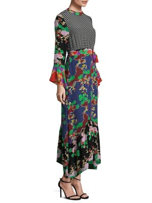 Chrissy Multi Print Silk Bell Sleeve Dress by Rixo