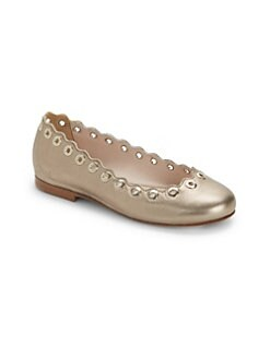 56ec9a154 QUICK VIEW. Chloé. Scalloped Leather Ballet Flats
