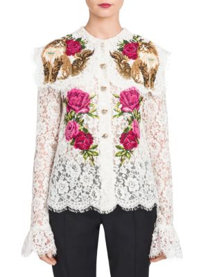 Floral-Embroidered Lace Blouse by Dolce & Gabbana