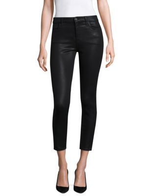JEN7 Riche Touch Coated Ankle Skinny Jeans in Black