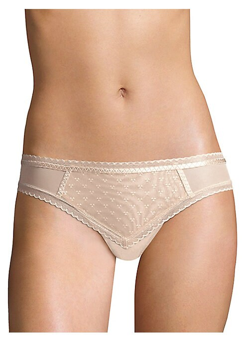 "Image of Delicate lace accentuates scalloped trim on luxe bikini briefs. Elasticized waist. Cotton gusset. Nylon/spandex/polyester. Hand wash. Imported. Model shown is 5'10"" (177cm) wearing US size Small."