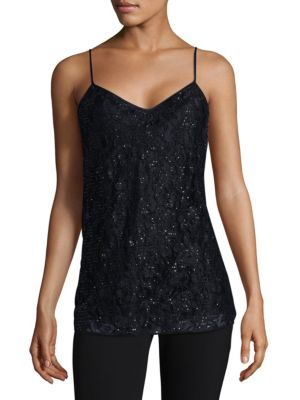 Hand Beaded Lace Silk Blouse by Lafayette 148 New York