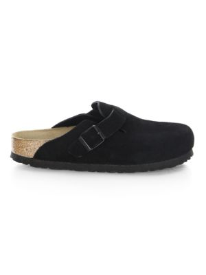 Boston Suede & Shearling Clogs - Black Size 8
