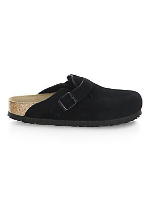 Image of Comfortable casual style slip-ons shoes in suede detail Suede upper Round toe Slip-on style Cork footbed EVA sole Imported. Women's Shoes - Contemporary Womens Shoe. Birkenstock. Color: Black. Size: 36 (5).