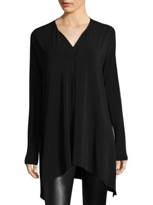 Double V-Neck Oversized Hi-Lo Top by Lafayette 148 New York