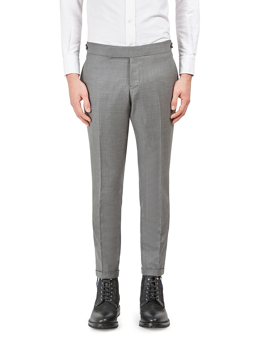 Thom Browne Men's Low Rise Skinny-fit Wool Pants In Medium Grey