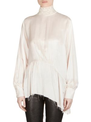 Lace Turtleneck Silk Blouse by Ann Demeulemeester