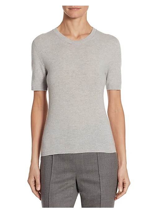 "Image of Casual top is updated in luxe cashmere. Roundneck. Three-quarter sleeves. About 23"" from shoulder to hem. Cashmere. Dry clean. Made in Italy. Model shown is 5'10"" (177cm) wearing US size 4."