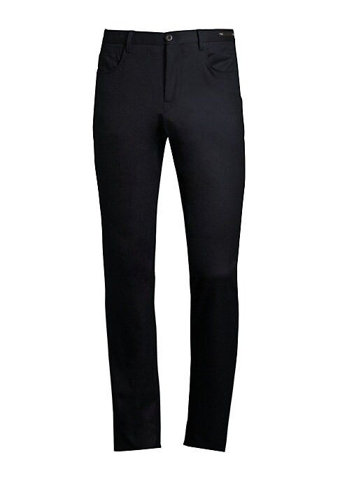 """Image of Modern fit 5-pocket pant in stretch flannel. Belt loops. Zip fly with button closure. Five-pocket style.V-split back waistband. Inseam, about 10"""".Inseam, about 37"""".Leg opening, about 15"""".Virgin wool/elastane. Dry clean. Imported."""