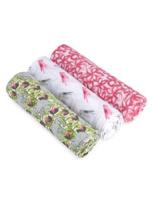 "Image of Classic swaddles in cotton with printed design. Set of Three.47""W x 47""H.Cotton. Machine wash. Imported."