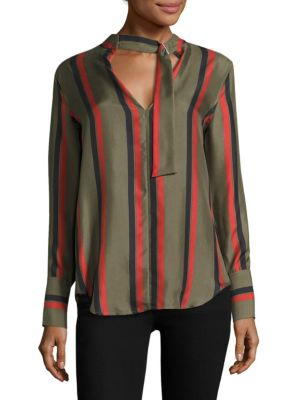 Janelle Striped Buckle Tie Silk Blouse by Equipment