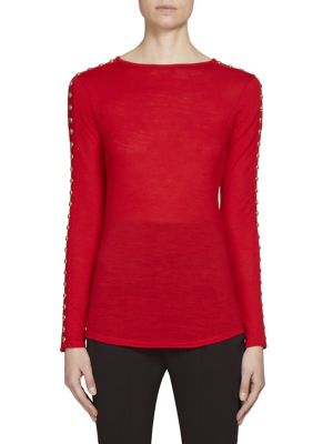Studded Sleeve Jersey-Knit Wool Top by Balmain