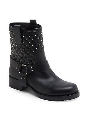 4bf0c8412e39 Valentino Garavani - Rockstud Spike Leather Biker Boots - saks.com