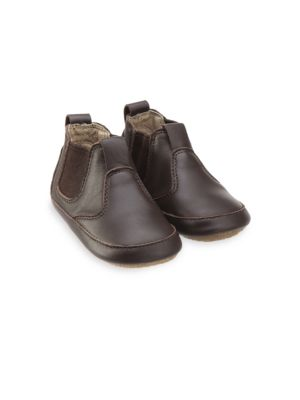 Image of .Bootie crafted in leather. Leather upper. Elasticized sides. Rubber sole. Imported. .