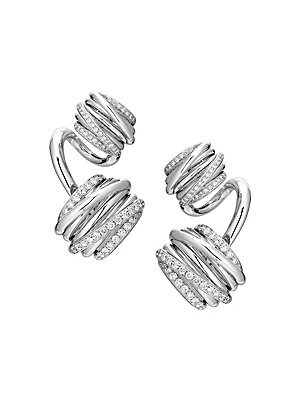 """Image of From the Allegra Toi & Moi Collection. Opulent earrings with diamond accents spiral into gleaming white gold. Diamond, 1.90 tcw 18K white gold Omega back Made in Italy SIZE Drop, about 1.5"""". Fine Jewelry - Fine Designer Jewelry > Saks Fifth Avenue. de GRI"""