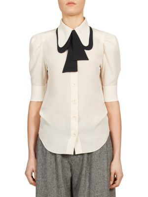 Silk Tie Neck Blouse by
