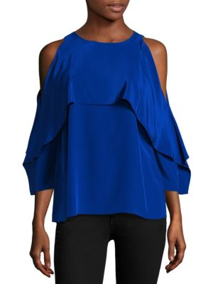 Baron Cold Shoulder Silk Blouse by Bailey 44
