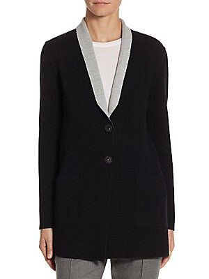 "Image of ONLY AT SAKS Cozy cashmere-blend blazer with contrasting lapels Shawl lapels Long sleeves Button front About 30"" from shoulder to hem Cashmere/polyamide/elastane Dry clean Made in Italy Model shown is 5'10"" (177cm) wearing US size 4. Designer Lifest - Des"